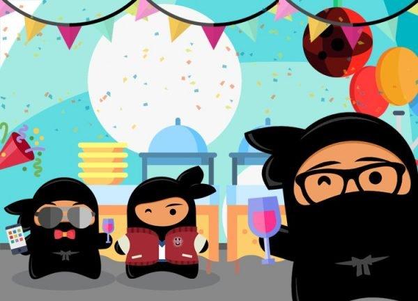 Illustration of ninjas at a blogger event