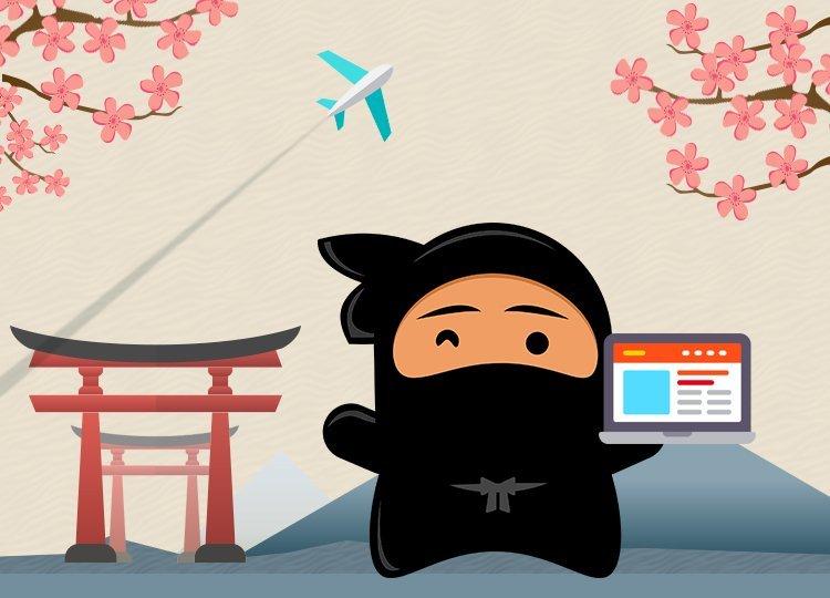 Design of Ninja with laptop showing onsite blogging