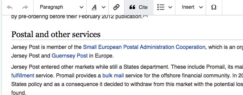 snippet of wikipedia edit postal