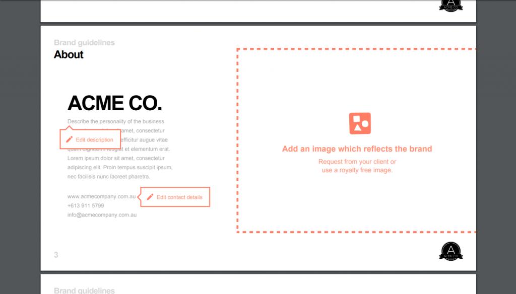 Screenshot of 99designs' branding guideline template