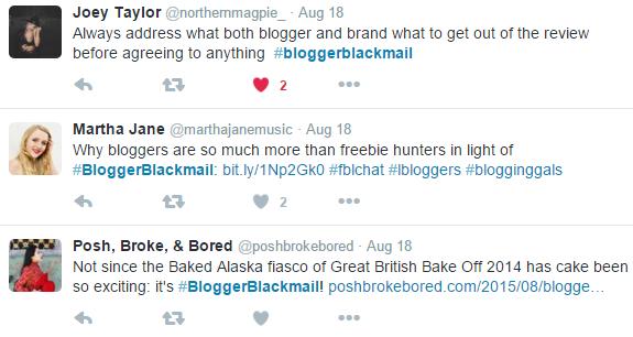 Screenshot of responses to #bloggerblackmail tweets