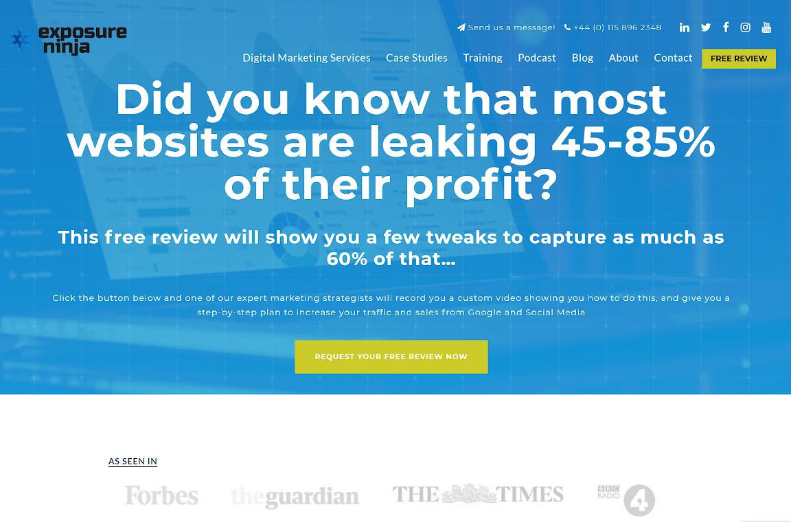 The Exposure Ninja homepage