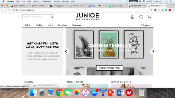 screenshot of Juniqe website homepage