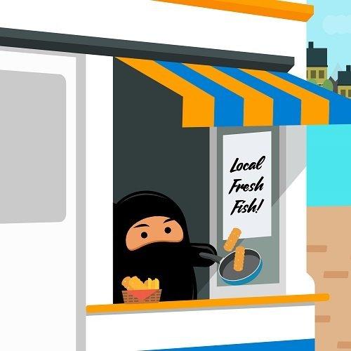 Graphic of a cartoon ninja selling fresh fish