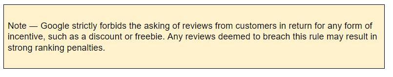 screenshot of Google rule regarding reviews