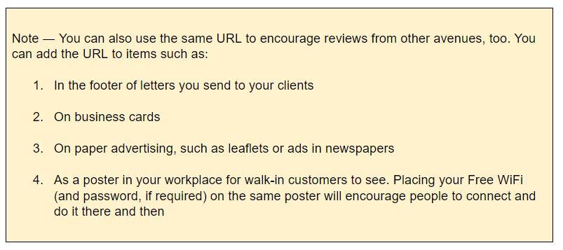 screenshot of tips to get Google reviews
