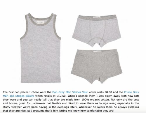 Underwear review on website
