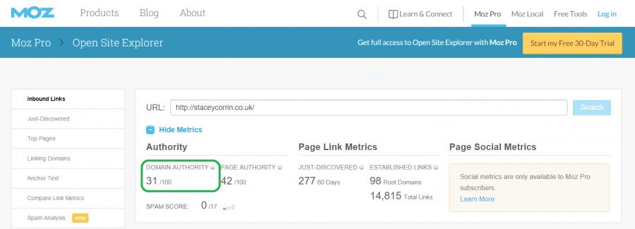 Screenshot of Moz domain authoruty for staceycorrin.co.uk