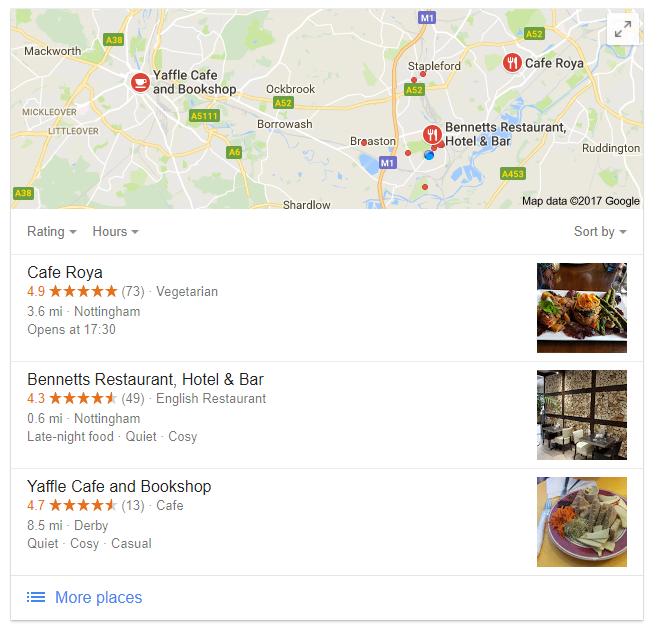 Vegan restaurant local seo search results