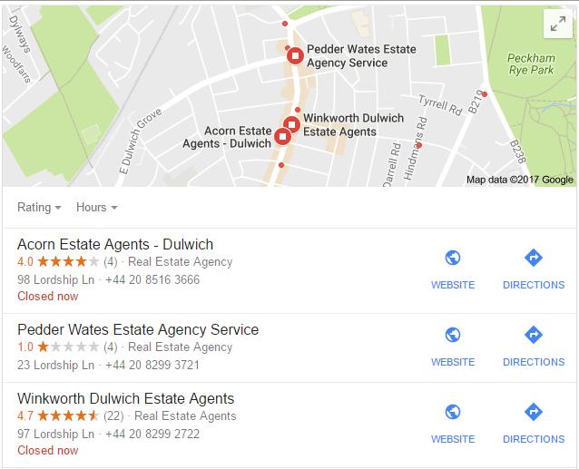 screenshot of local estate agents in Google