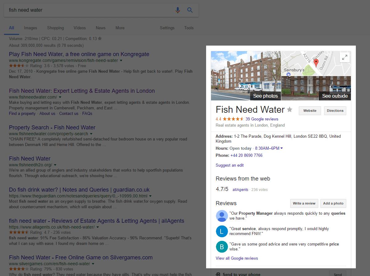 screenshot of an estate agent with good Google reviews