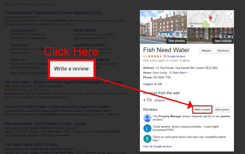 screenshot of write a review in google