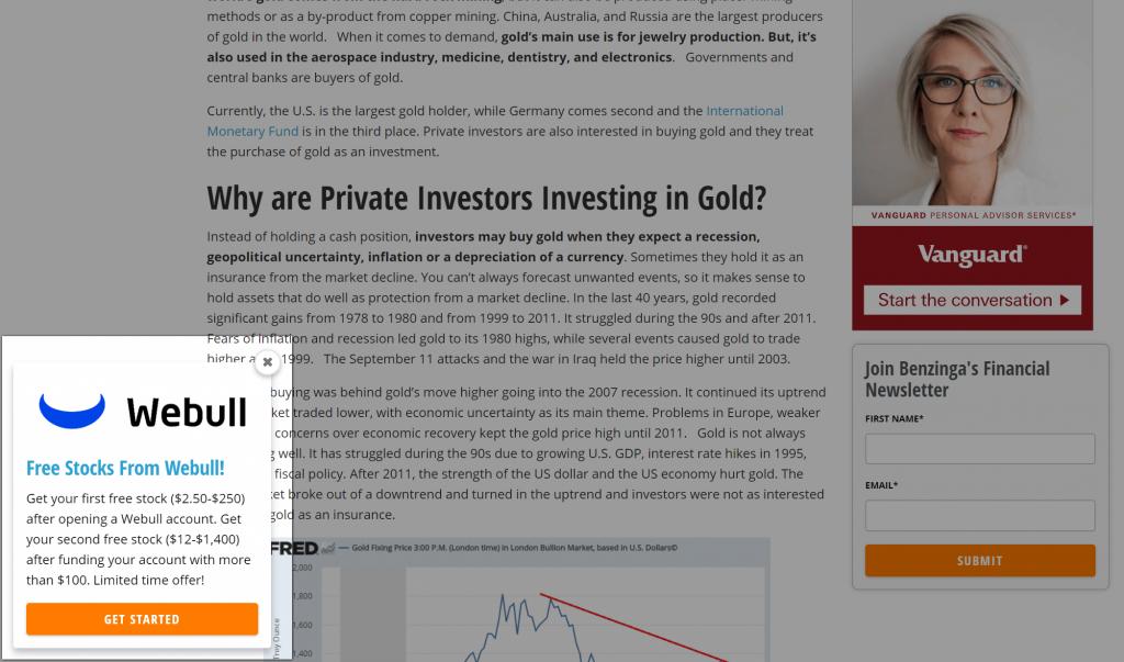 Screenshot of a slide-in pop-up on benzinga.com