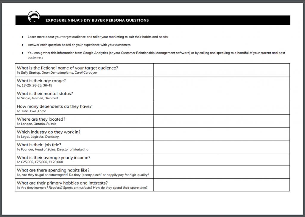 Buyer Persona Checklist screenshot