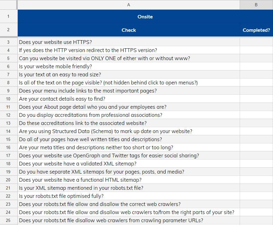 Screenshot of our SEO Checklist
