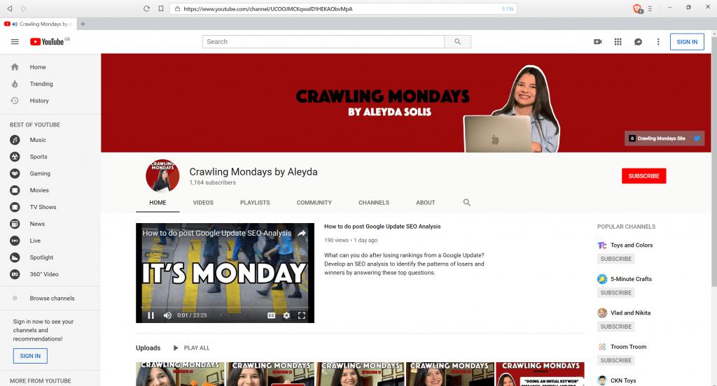 Screenshot of Crawling Monday's YouTube series