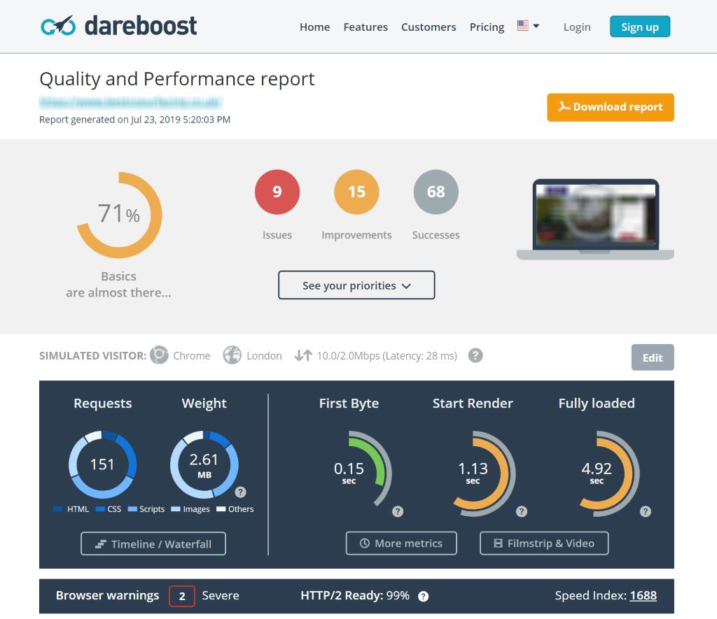 Screenshot of the Dareboost Site Auditor