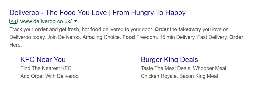 Screenshot of Google Ad for Deliveroo