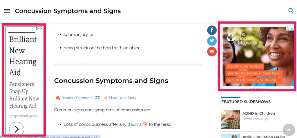 Screenshot of display ads on emedicinehealth.com