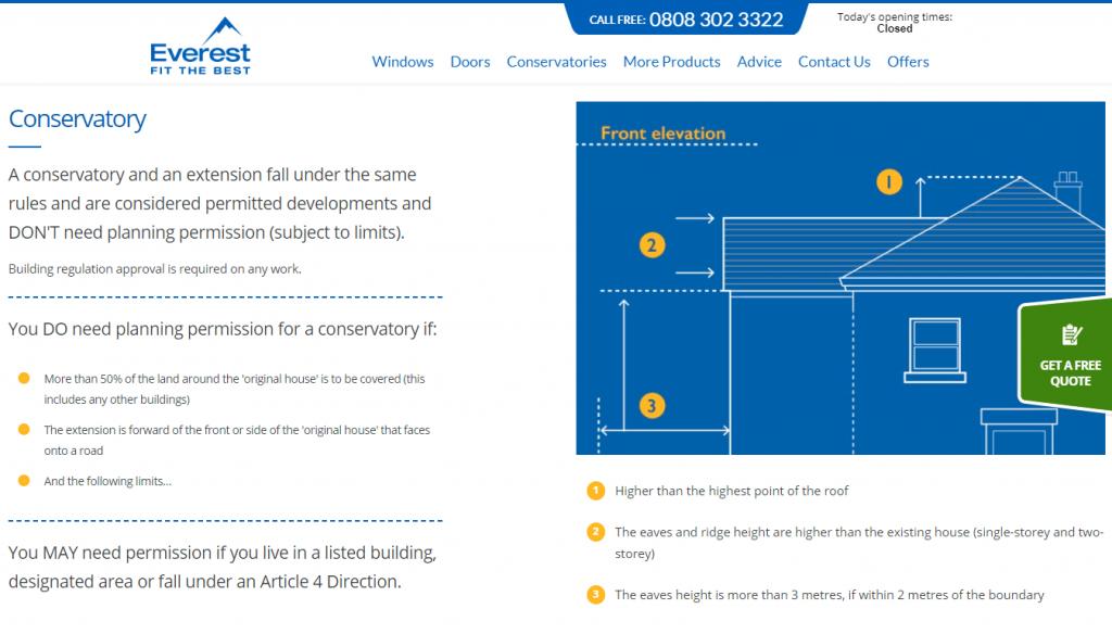 Screenshot from the Everest website