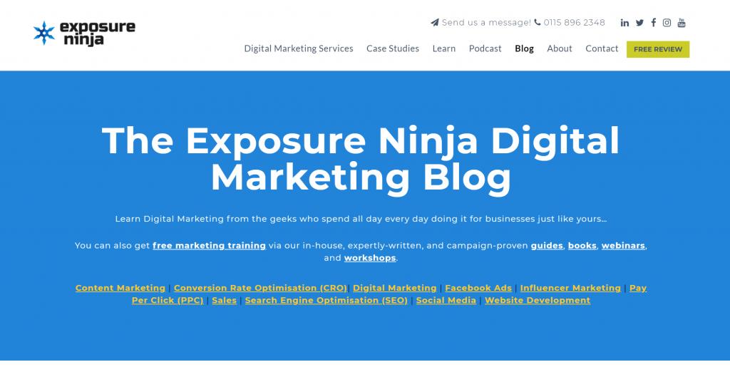 Screenshot of the Exposure Ninja Blog