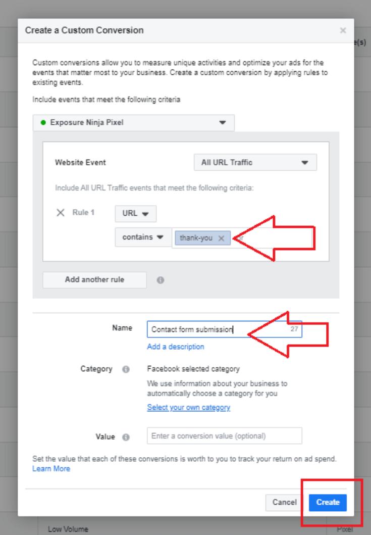 Screenshot of the Facebook Ads Custom Conversions Tool