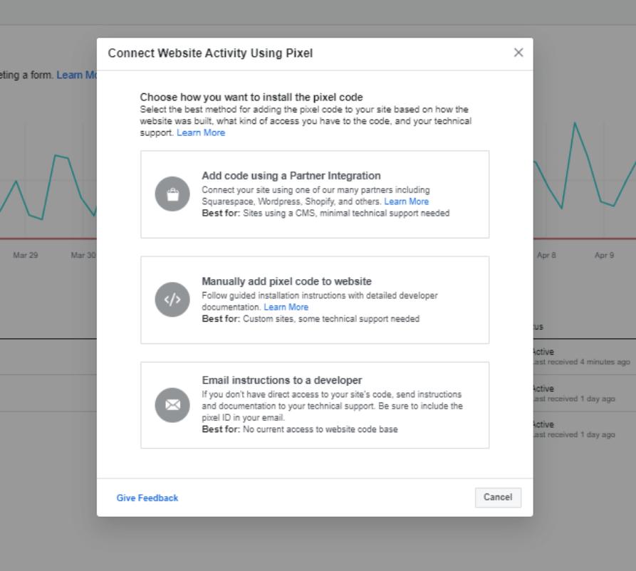 Screenshot of the Facebook Ads Pixel installation options