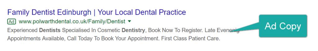 Screenshot of a Google Ads' copy