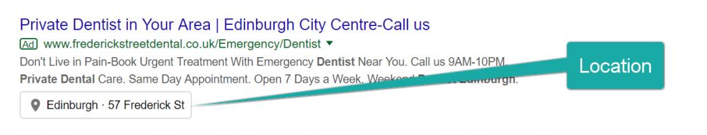 Screenshot of Google Ads Location Extension.