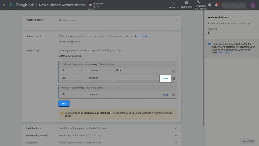 Screenshot of Google Ads New Audience Creation