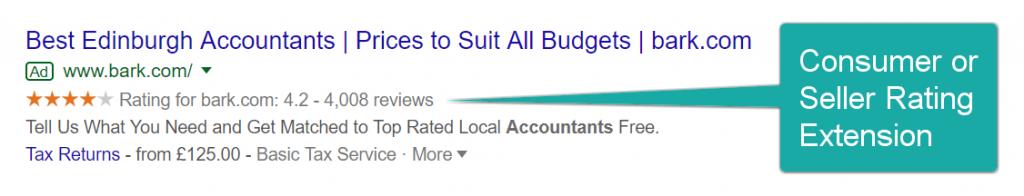 Screenshot of Google Ads' seller rating extension