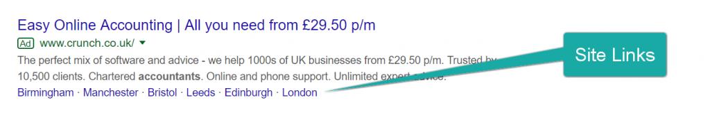 Screenshot of a Google Ads' sitelinks.