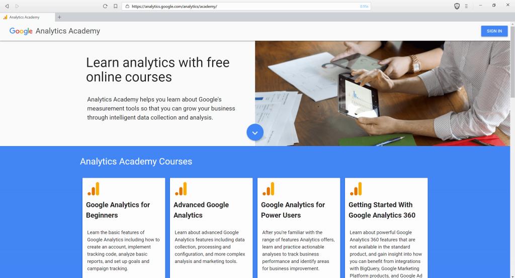 Screenshot of the Google Analytics Academy
