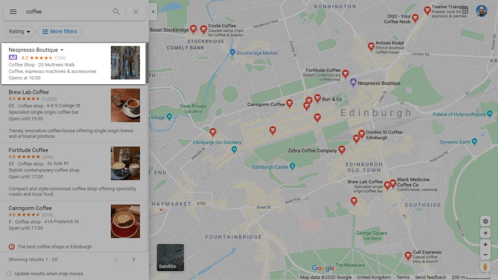 Screenshot of a Google Maps ad