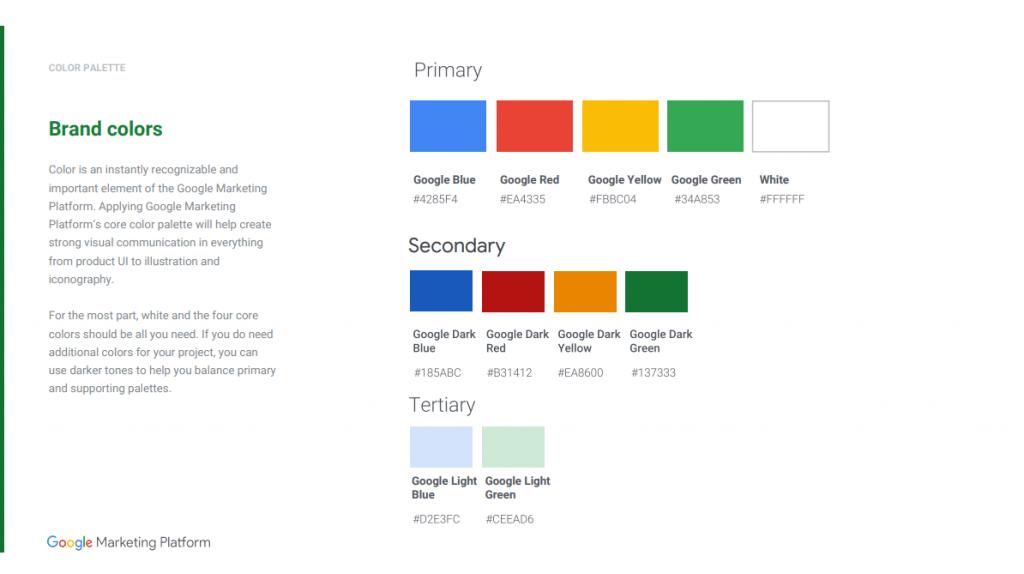 Screenshot of the Google Marketing Platform colour use.