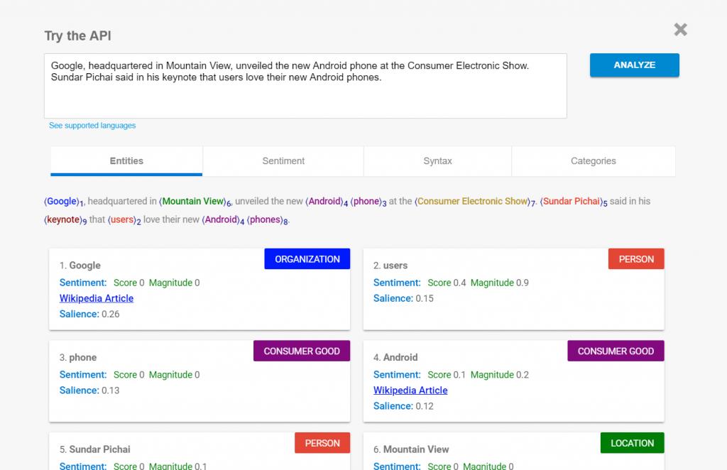 Example of Google's Natural Language API