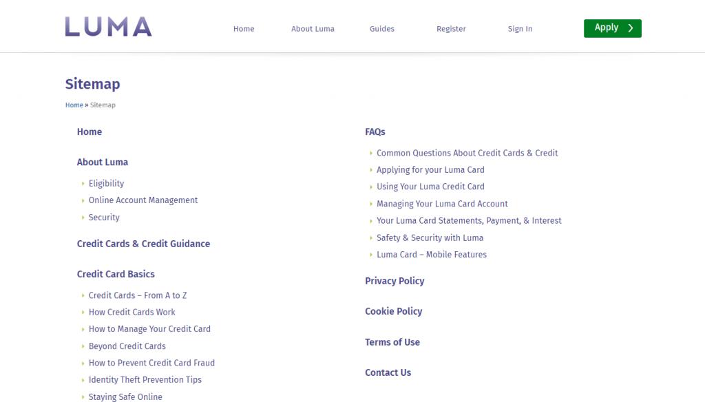 Screenshot of an HTML Sitemap