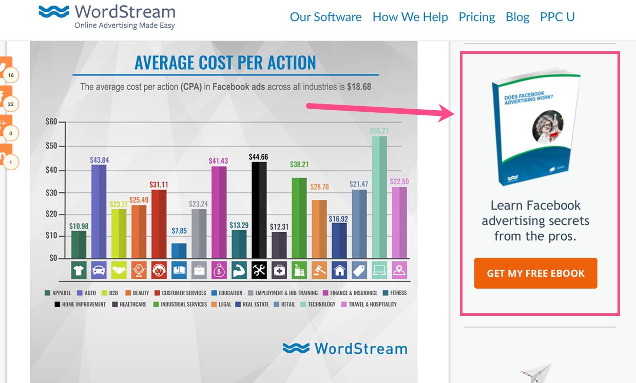 screenshot of Wordstream CTA to improve website's conversion rate