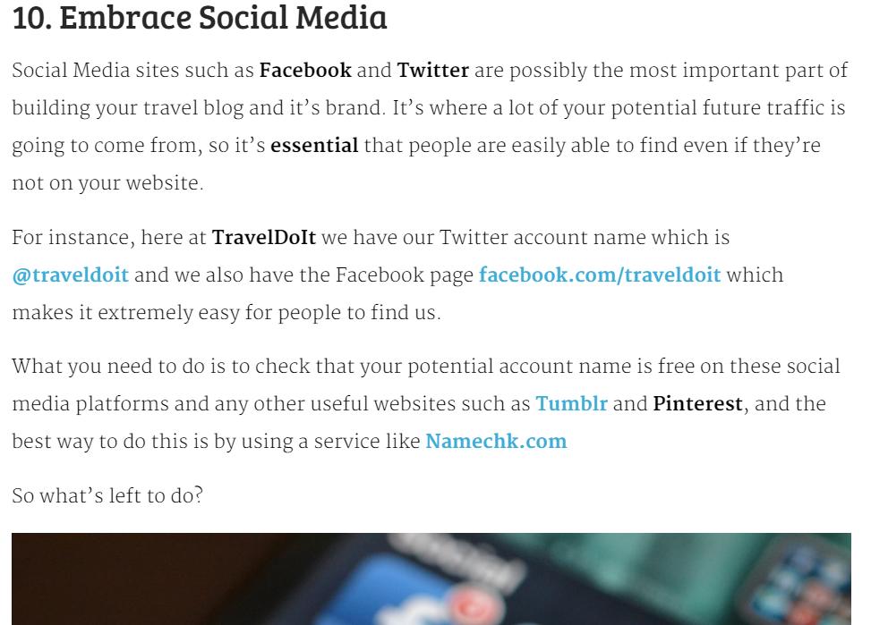 screenshot of blog post well written