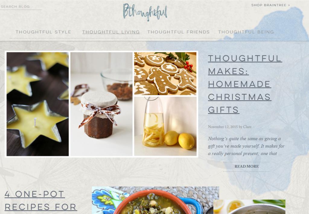 screenshot of Bthoughtful, blog
