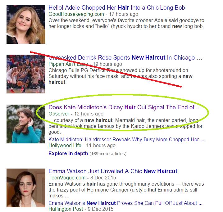 screenshot of Kate Middlelton hair in Google news