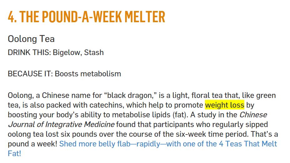 screenshot of blog post on weight loss tea