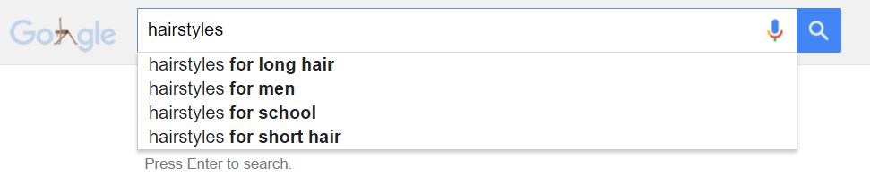 screenshot of hairdresser related topics in Google
