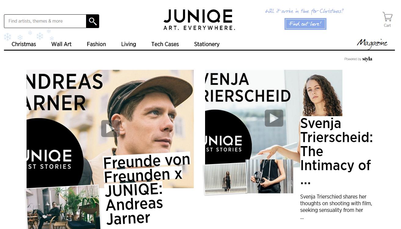 screenshot of Juniqe blog