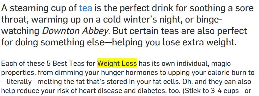 screenshot of blog post from Weight loss website