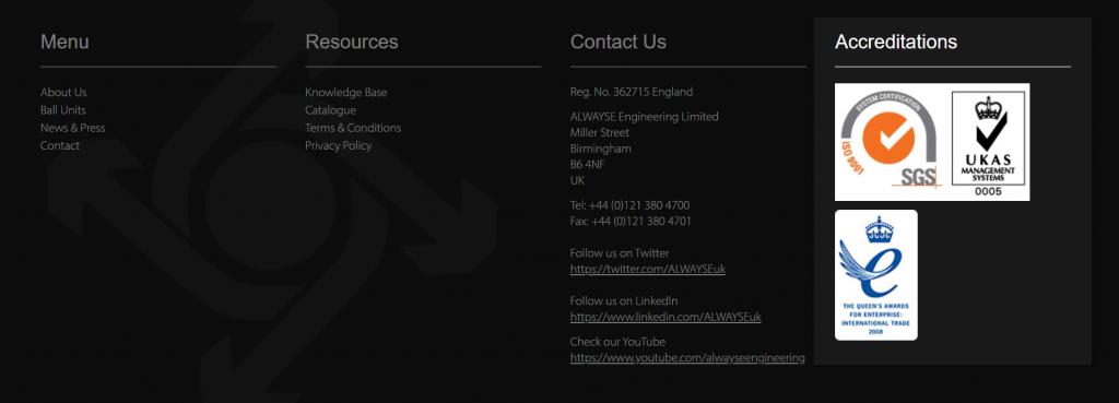 Screenshot of UK legal badges on a website