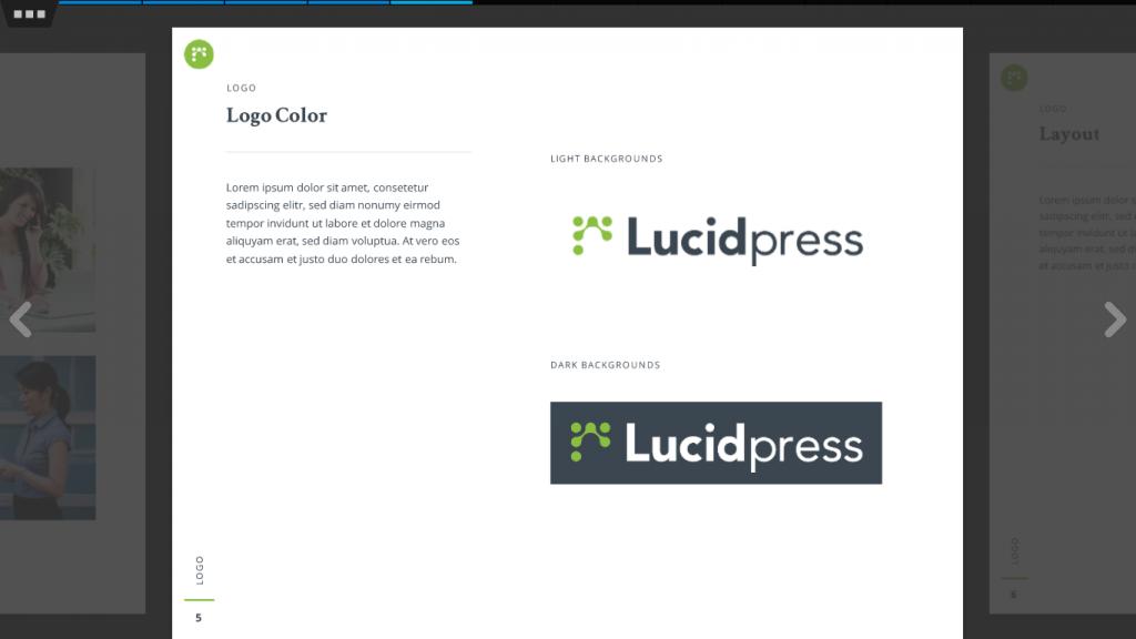 Screenshot of Lucidpress' free branding template.