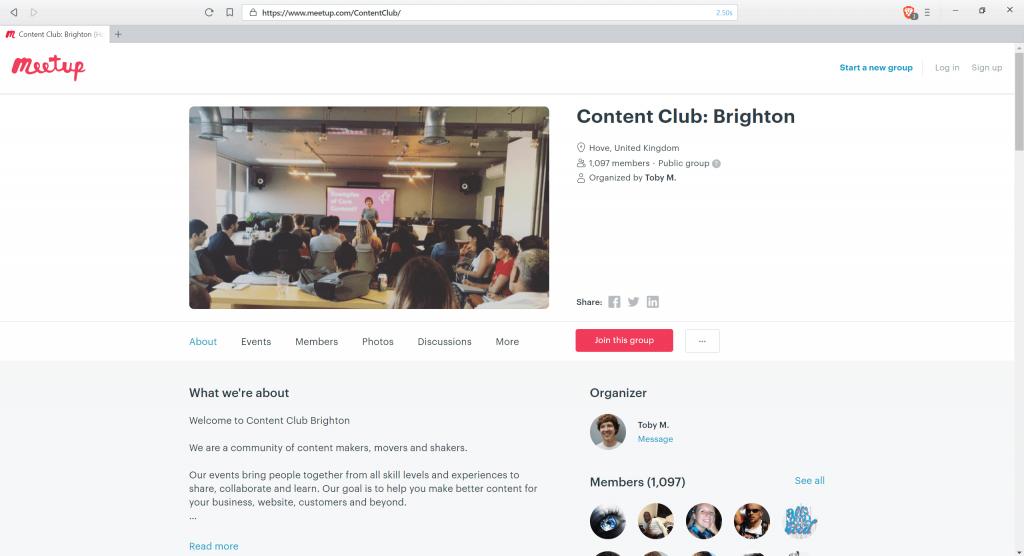 Screenshot of a Meetup.com event page