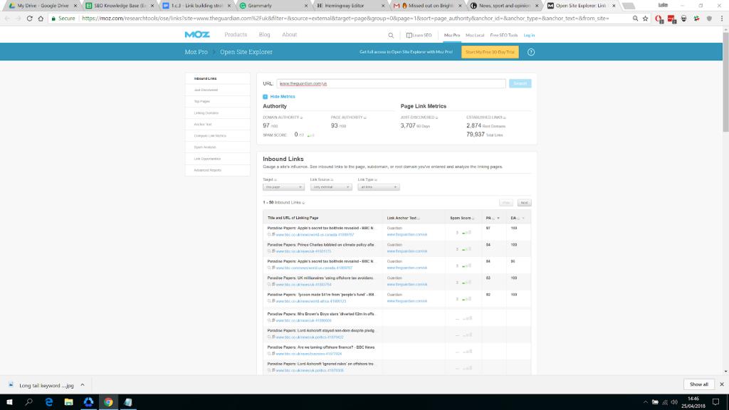 Screenshot of Moz's Open Site Explorer