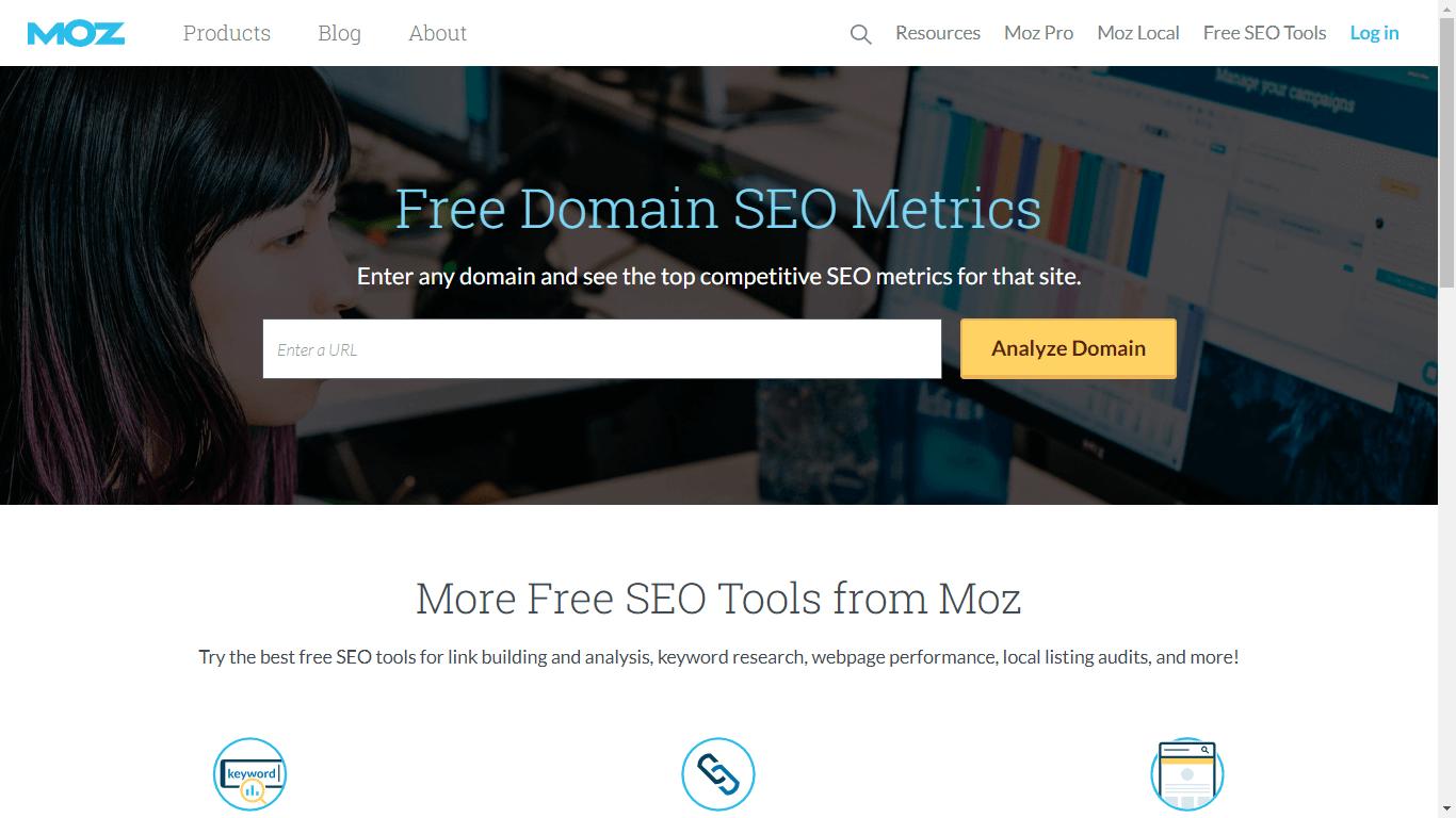 Screenshot of Moz's free tools
